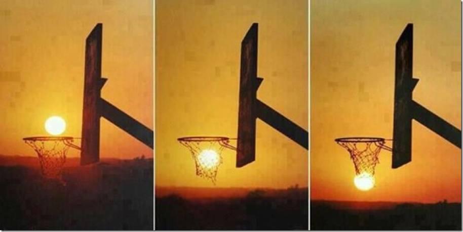 soleil dans panneau de basket