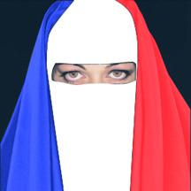 femme portant une burka tricolore