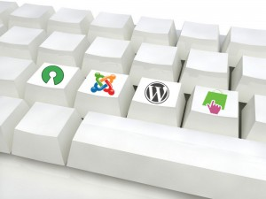Touches de clavier logos OpenSource Joomla WordPress Prestashop