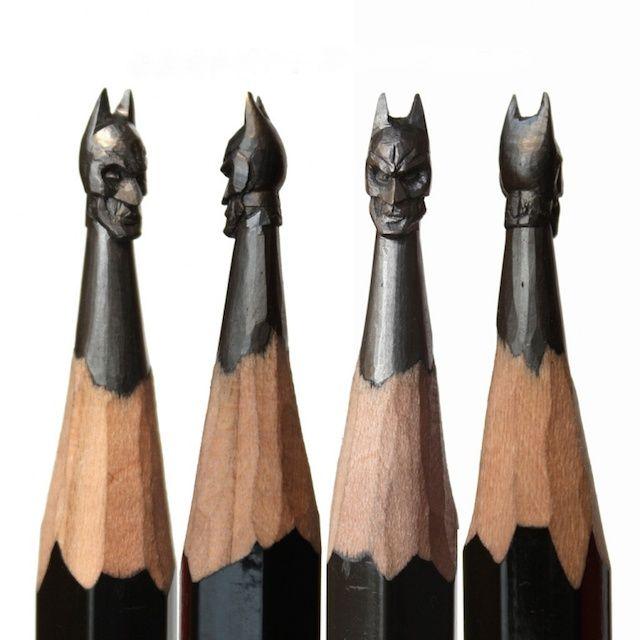Des mines de crayons taillées en forme de Batman
